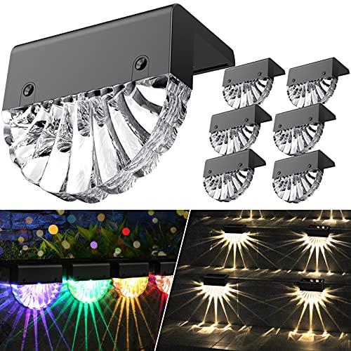 Solarlampen für Außen, Wasserdichte Solar Lampe für die Garten dekoration | 6 Stück LED Gartenlampen für Terrasse, Garten, Stufen und Treppen, 2 Modi LED Warmweiß/Farbwechselnde Beleuchtung