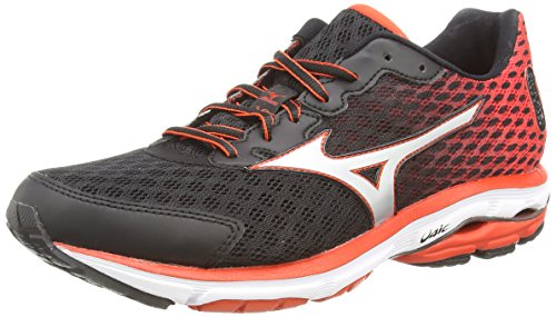 MizunoWave Rider 18 - Zapatillas de running hombre , color negro (black/silver/orange), talla 44.5
