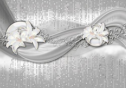 wandmotiv24 Fototapete abstrakte Lilien grau silber XL 350 x 245 cm - 7 Teile Fototapeten, Wandbild, Motivtapeten, Vlies-Tapeten Blume, Ornament, M0524