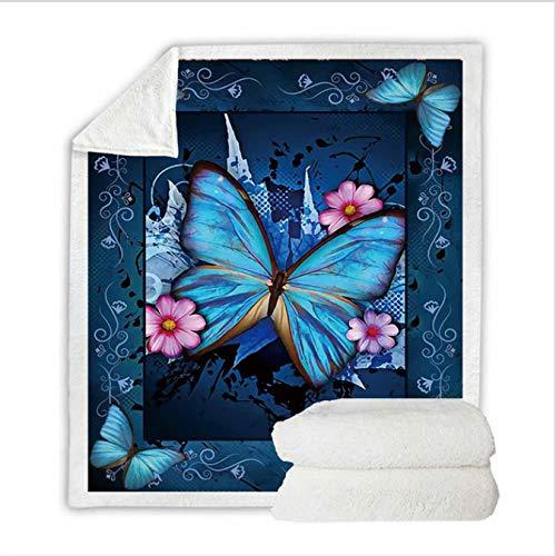 jinda Mariposa Sherpa Manta Girly Floral Colcha Terciopelo Felpa Suave Cómoda Casa Camping Avión Manta 150 * 200Cm