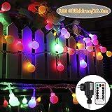 Led lichterkette außen und ihnen bunt, GreenClick 13m 100 Leds Glühbirne Lichterkette mit Fernbedienung Timer,8 Modi Globe Lichterkette outdoor und outdoor, deko für Party Balkon Hochzeit Weihnachten