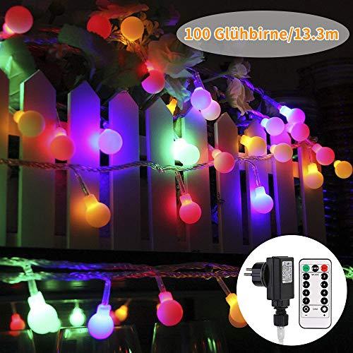 Led lichterkette außen und ihnen bunt, GreenClick 13m 100 Leds Glühbirne Lichterkette mit Fernbedienung Timer,8 Modi Globe Lichterkette outdoor und...