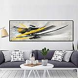ganlanshu Arte Moderno Minimalista Abstracto Amarillo y Negro Carteles e Impresiones Pintura al óleo sobre Lienzo,Pintura sin Marco,30X90cm