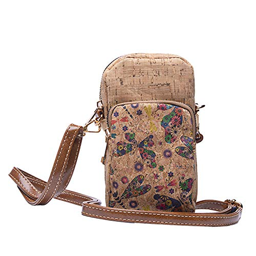 Byoeko bolso de corcho bandolera para teléfono móvil de mujer (Beige primavera)