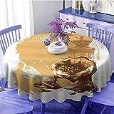 Cafetería mesa redonda Vintage Sketch Art un molino antiguo y bolsa de frijoles con canela de secado rápido diámetro 60' marrón pálido blanco