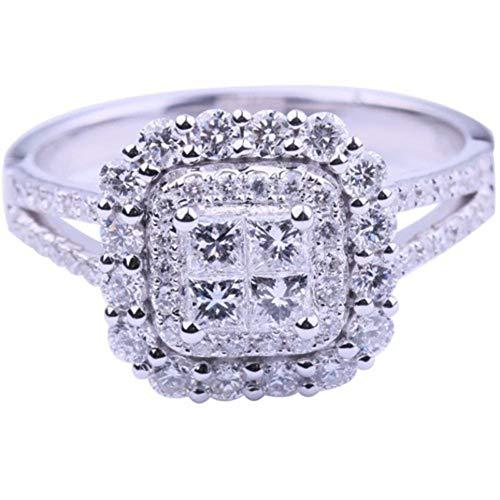 WOIA Anillo de Bodas con Incrustaciones de Diamantes Aleación Versátil Anillo Individual Regalo Femenino, Plata, 6