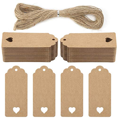 Koogel 120 Pcs Gift Paper Tags, Luggage Tags Labels Brown Heart Gift Tags with String for Gifts Arts Crafts Wedding Holiday