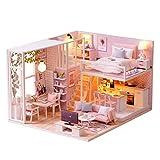Decdeal DIY Puppenhaus Rosa Stil Loft Schlafzimmer Küche Wohnzimmer 3D Holz Miniaturhaus Kit mit...