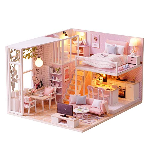 Decdeal DIY Miniature Dollhouse Kit 3D Pink Wooden House Room Toy Furniture LED Lights Christmas Children's Day Birthday Gift