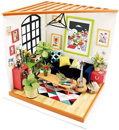 ROBOTIME DIY Haus Bausatz Basteln Miniatur Puppenhaus Dekoration Kreative Geschenkidee mit LED Licht (Wohnzimmer)