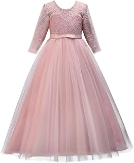 IBTOM CASTLE Girls Flower Party Dress Long Princess Gown Tulle Lace Wedding Evening Formal Pageant Dress 3/4 Sleeve