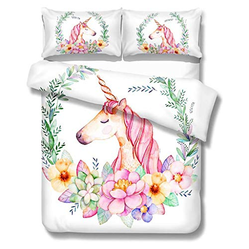 OldPAPA Set Copripiumino con Unicorno, Set di Biancheria da Letto per Bambini, Matrimoniale con 1 Copripiumini + 2 Federe - prevenire l' umidit, Anallergico