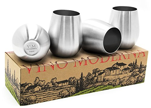 Stainless Steel Stemless Wine Glasses, Set of 4 (18 oz) | SS Metal Modern & Sleek Shatterproof Drinking Tumblers | Elegant Steel Wine Cups - Perfect Gift | BPA free, Unbreakable & Dishwasher Safe