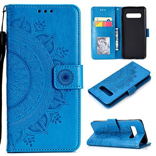 ケース Galaxy S10,手帳型 キラキラ かなり 豪華 エンボス トーテム 人気 おしゃれ 掛け縄 女性 PUレザー カバー、かわいい ユニーク 磁石閉鎖 ミラー付き ポーチ 縦型 財布型 全面保護 カード収納ケース、薄型 スタンド機能 二層構造 ス