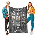 Personalized Family Tree Blanket with 9 Photos Custom Blanket with Pictures Customized Throw Gifts for Mom Grandma Birthday Christmas, 15 Colors Available, 40'x50'