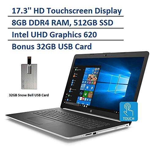 "2020 HP Pavilion 17.3"" HD Touchscreen Laptop Computer, Intel Core i5-8265U Processor, 8GB DDR4 RAM, 512GB PCIe SSD, Intel UHD Graphics 620, DVD, HD Webcam, Windows 10, Natural Silver"