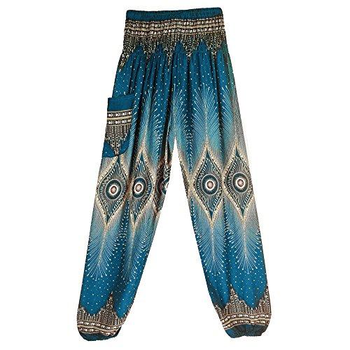 Hippie Hose Pumphose Haremshose Boho Lose Yogahosen mit hoher Taille und Pfauenmuster für Damen und Herren Running Yoga Pilates Sportbekleidung Harempants Jogginghose Lange Hosen (Mintgrün #2)