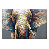 Fasdi Art Paintings Animal Elephant Oil Painting 3D Hand-Painted On Canvas Abstract Artwork Art Wood Inside Framed Hanging Wall Decoration Abstract Painting (DF010, 24x36inch)