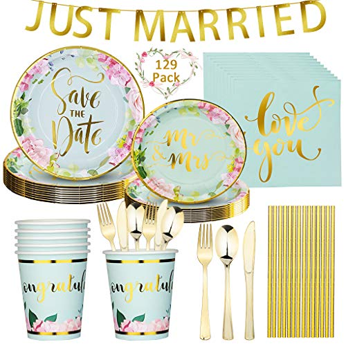 DreamJing Mr Mrs Wedding Tableware Set Paper Plates 129Pcs Paper Cups Plates ,Napkins ,Knife, Fork, Spoon, Straws, Banner Wedding Party Supplies Dinnerware Kit Serves 16 Guests