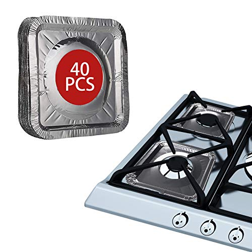 Gas Burner Cover Liners, Disposable Aluminum Foil Stove Burner Covers Protector Bibs Foil Liners Catch Oil,Grease and Food Spills Keep Stove Clean, (8.5' Square,40 Pack)