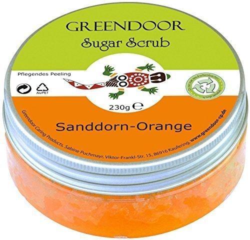 Greendoor Körperpeeling Sugar Scrub Sanddorn Orange, Zucker Peeling ohne Farbstoffe, Duschpeeling ohne Mikroplastik, Hautpeeling ohne Konservierungsmittel, 230g, für strahlende Haut, Body Scrub …
