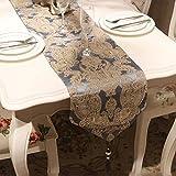 YXN G Bordado Floral Mesa Corredor/Mantel/Cama Cola Tela/Banquete de Boda decoración/aparador Bufandas/Mesa de Comedor manteles Individuales (Color : Grey-, Size : 32×160cm)
