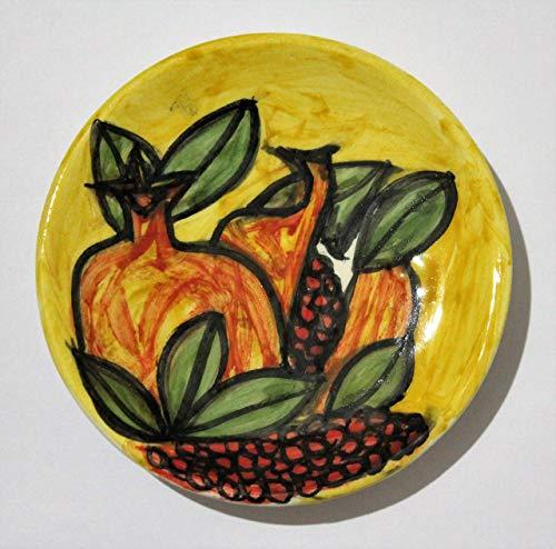 Granatäpfel - Handgefertigte Keramikplatte, Durchmesser 9,7 cm, Höhe 1,7 cm, hergestellt in Italien, Toskana, Lucca, kristalline Technik, erstellt von Davide Pacini.