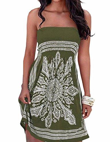 Vestido de verano para mujer, sin hombros, estampado floral, multicolor, estilo bohemio, informal, mini vestido de playa, Verde militar., M
