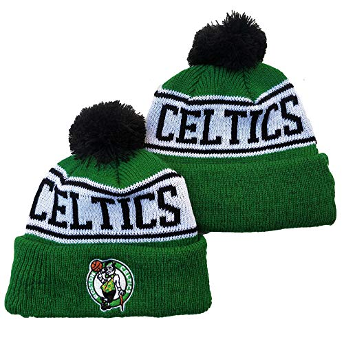 G-III Sports 2019 2020 for Adult Men & Women Sideline Sport Knit Winter Pom Knit Hat Cap Boston Celtics(6) Biggest Fan Knit Beanie with Pom