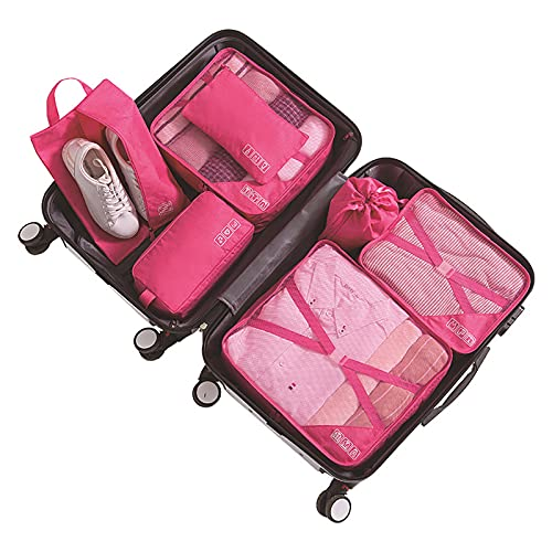 Parshall Bolsa de almacenamiento de artículos de aseo multifunción bolsa de lavado portátil organizador de acabado de ropa interior con cubos impermeables cesta de maleta, rosado,