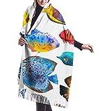 Elaine-Shop Patrón sin costuras con peces tropicales Acuarela con acuario dibujado a mano Peces exóticos en blanco Chal Wrap Bufanda cálida de invierno Cape Cashmere Scarf Wrap