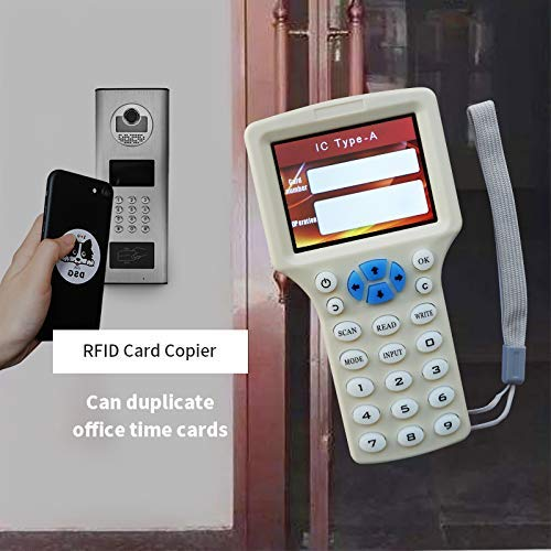 RFID NFC Card Copier Reader Writer duplicator English 10 Frequency Programmer for IC ID Cards and All 125kHz Cards +5pcs ID 125khz Cards+5pcs ID 125kh keyfobs+5pcs 13.56mhz UID Key +1USB