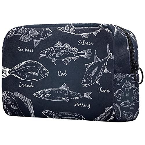 Kompakte Kosmetiktasche Schminktasche Geldbörse, Fischsammlung Dorado Aal Wolfsbarsch Lachs Kabeljau Thunfisch Hering Seezunge Stör