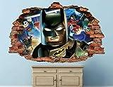 WTQang calcomanías de pared Lego batman pasión pared de ladrillo decoración de la etiqueta de vinilo roto 3d arte de la etiqueta engomada