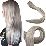 Full Shine 18 Inch Balayage Ombre Tape Extensions Color #19A Fading to #60 Balayage Human Hair Tape in Extensions 2.5g Per Piece 50gram Per Package Tape Remy Human Hair Extensions