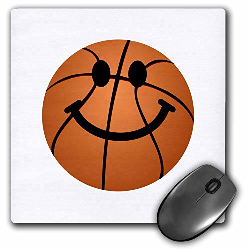 3dRose Basketball Smiley Face Orange Basket Ball Happy Cartoon on white for Sporty Sport Fans Sports Mouse Pad (mp_123138_1)