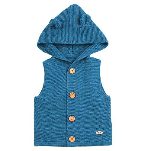 Lenfesh Lenfesh Baby Mädchen Jungen Gestrickt Hooded Weste Ärmellose Jacken Wintermantel Kleidung (6 Monate, Blau)