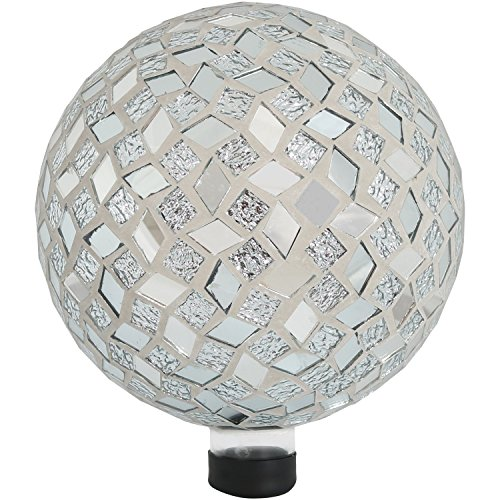Sunnydaze Mirrored Diamond Mosaic Gazing Globe Glass Garden Ball, Outdoor Lawn and Yard Ornament, 10-Inch