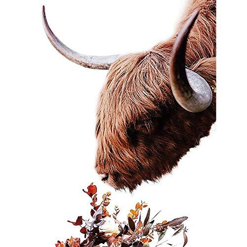 (Geen frame) 60x80 CM Wall Art Modulaire Prints Pictures Nordic Stijl Poster Hoogland Koe Dier Bloem Canvas Schilderij Voor Woonkamer Woondecoratie