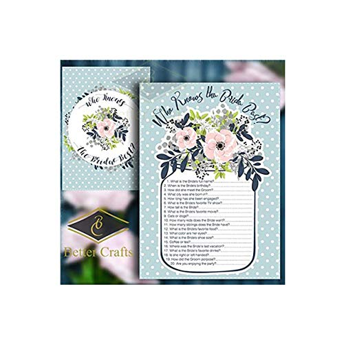 Who Knows The Bride Best? Wedding and Bridal Shower Game, 50 Beautiful Double Sided Card Game. (Version 23)