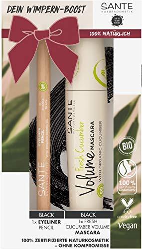 Sante Naturkosmetik Geschenk-Set Wimperntusche & Eyeliner, Mit Volume Mascara Schwarz und Eyeliner Pencil, Für Eye-Catcher, mit Bio-Gurke und Bio-Jojobaöl, 14 ml