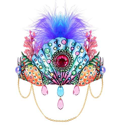 Tomaibaby Bandeau de Plumes Carnaval Plume Casque avec Peigne Coquille Corail Couronne Halloween Coiffure Costume Accessoires pour Femmes