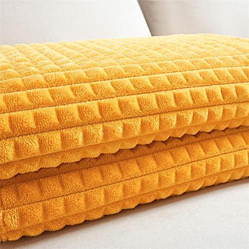 Kuscheldecke Super Weiche Flanell Wendedecke Mais Karierten Korallen Fleece Decke Einfarbig Tragbare & Atmungsaktive Flanell Stoff Decke Für Bett Sofa,Gelb,180 * 200cm