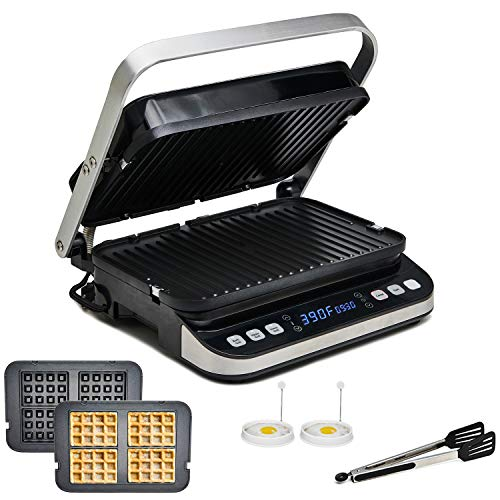 Yedi Total Package 6-in-1 Digital Grill, Waffle Maker, Panini Press, Griddle, with Deluxe Accessory Kit