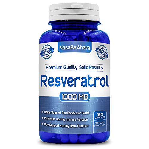 NASA Beahava 100% Pure Resveratrol - 1000mg Per Serving Max Strength (180 Capsules) Antioxidant Supplement Extract, Natural Trans-Resveratrol Pills for Heart Health & Weight Loss