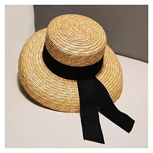 ZZDH Cappello Paglia Cappelli Estivi da Donna Cappello Paglia Spiaggia Spiaggia Cappello Signora Larga Brim Retro (Color : A, Size : 56 58cm)