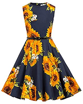 Girl's Cute Vintage Birthday Party Dresses 7-8 Years Sunflower-2