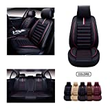 OASIS AUTO Leather Car Seat Covers, Faux Leatherette Automotive Vehicle Cushion Cover for Cars SUV Pick-up Truck Universal Fit Set for Auto Interior Accessories (OS-001 Front Pair, Black&RED)