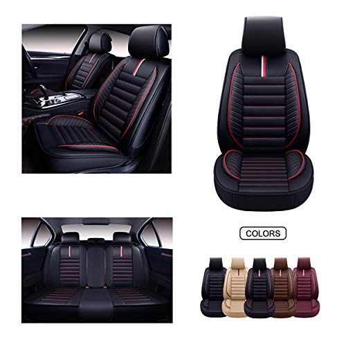 OASIS AUTO Leather Car Seat Covers, Faux Leatherette Automotive Vehicle Cushion Cover for Cars SUV Pick-up Truck Universal Fit Set for Auto Interior Accessories (OS-001 Full Set, Black&RED)