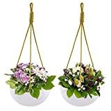 Wall Hanging Planter , 9 Inch Ceramic Round Cute Hanging Planter , White Hanging Basket with Rope for Porch Balcony Indoor Outdoor , Set of 2 (Round)